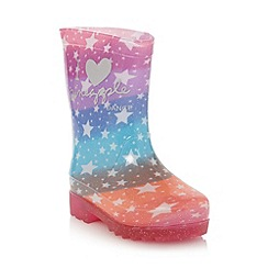 Pineapple - Girl's pink star patterned light up wellies