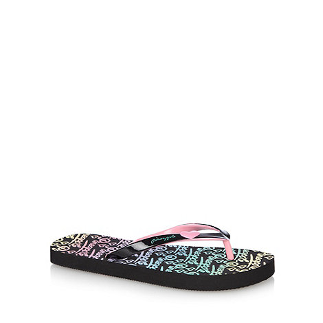 Pineapple - Girl+s black heart flip flops