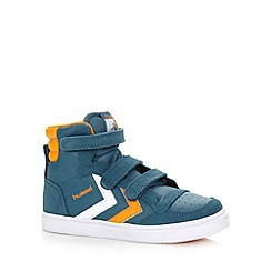 Hummel - Boy's dark turquoise suede trim high top trainers