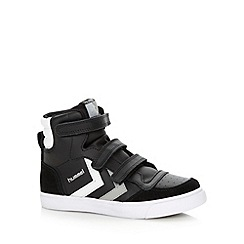 Hummel - Boy's black suede trim high top trainers