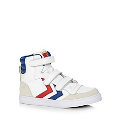 Hummel - Boy's white suede trim high top trainers