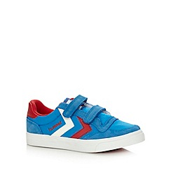 Hummel - Boy's bright blue two tab suede trim trainers