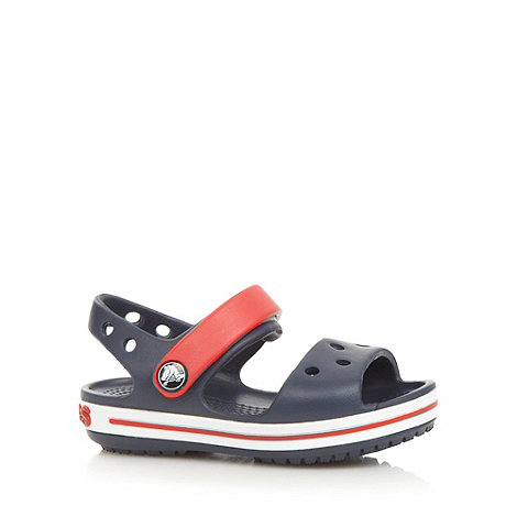 Crocs - Boys navy moulded stripe +Crocs+ sandals