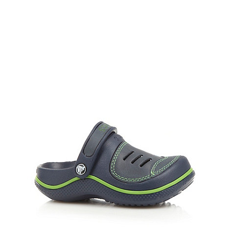 Crocs - Boy+s navy moulded slingback +Crocs+ clogs