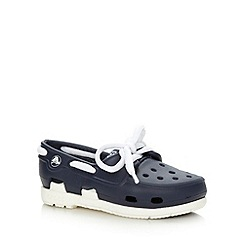 Crocs - Boy's navy boat shoe style Crocs