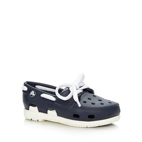 Crocs - Boy+s navy boat shoe style Crocs