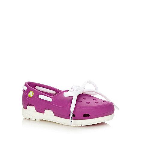 Crocs - Girl+s pink boat shoe style Crocs