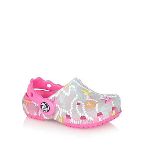 Crocs - Girl+s pink star print crocs