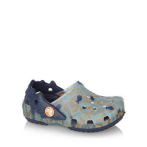 Crocs - Boy+s navy fish print crocs