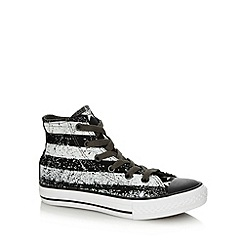 Converse - Black grain patterned hi top trainers