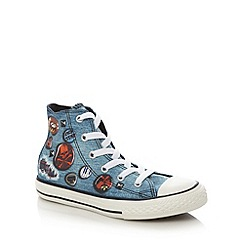 Converse - Boy's blue skull print hi-top trainers