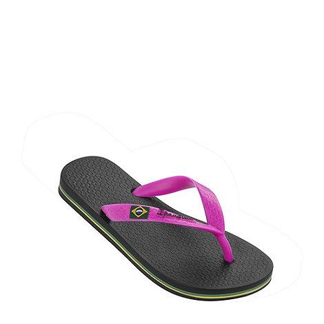 Ipanema - Girl+s black Rio flag flip flops