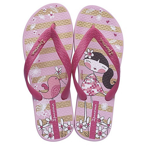 Ipanema - Girl+s purple floral flip flops