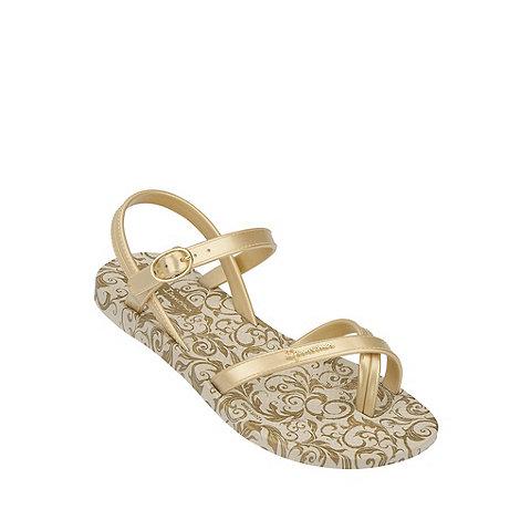 Ipanema - Girl+s gold swirl flip flops