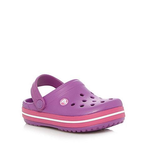 Crocs - Girl+s purple stripe trim Crocs
