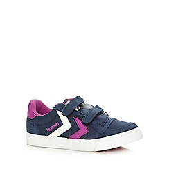 Hummel - Girl's pink two tab suede trim trainers
