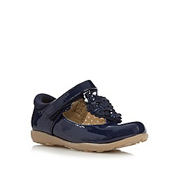 bluezoo - Girl's navy flower T-bar strap shoes