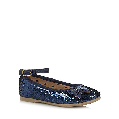 bluezoo - Girl+s navy butterfly detail glitter pumps