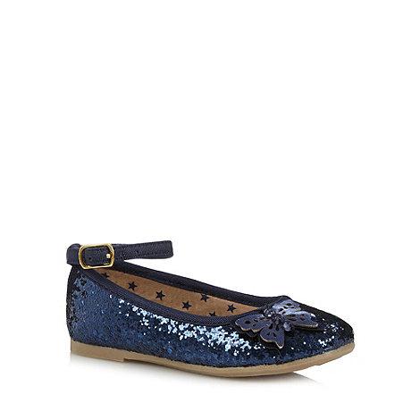 bluezoo - Girl+s navy butterfly detail glitter pumps