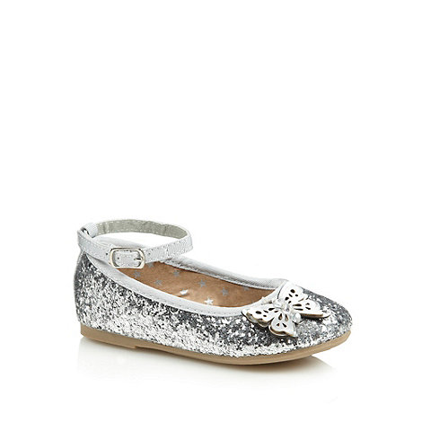 bluezoo - Girl+s silver glitter butterfly pumps