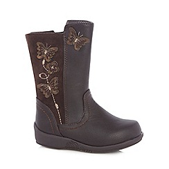 bluezoo - Girl's dark brown crepe sole boots