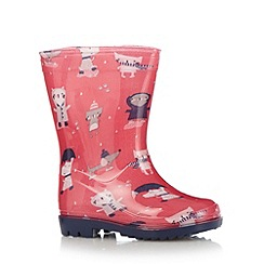 bluezoo - Girl's pink cat and dog printed wellies