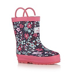 Mantaray - Girl's navy floral fleece lined wellies