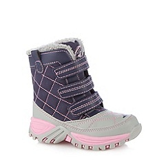 Mantaray - Girl's navy faux fur lined snow boots