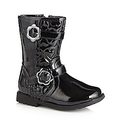bluezoo - Girl's black patent heart quilted boots