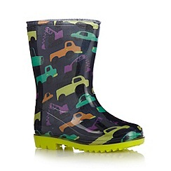 bluezoo - Boy's navy truck printed wellies