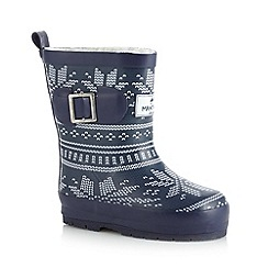 Mantaray - Boy's navy fairisle faux fur lined wellies
