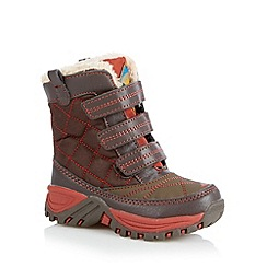 Mantaray - Boy's brown quilted three tab snow boots