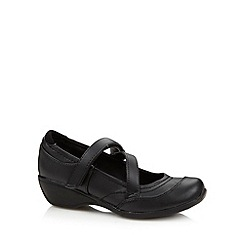 Debenhams - Girl's black crossover strap wedge school shoes