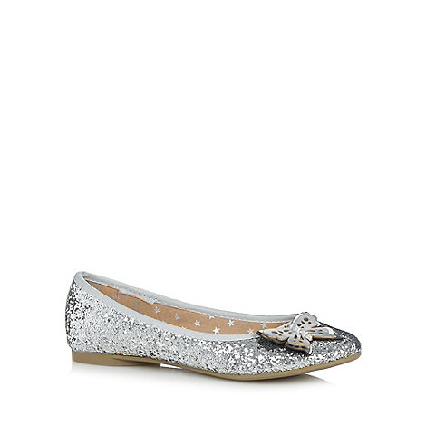 bluezoo - Girl+s silver butterfly detail glitter pumps