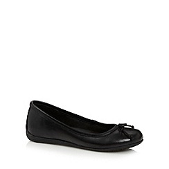Debenhams - Girl's black leather school pumps