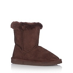 bluezoo - Girl's dark brown faux fur lined boots