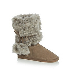 Mantaray - Grey suede and faux fur calf length boots
