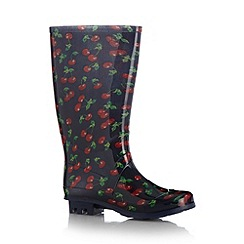 bluezoo - Girl's navy cherry printed wellies