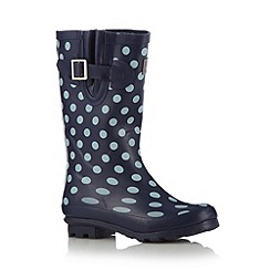 Mantaray - Girl's navy spotted wellies