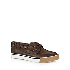 bluezoo - Boy's brown lace up boat shoes