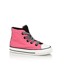 Converse - Girl's pink leopard panel hi-top trainers