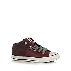 Converse - Boy's maroon leather mid top trainers