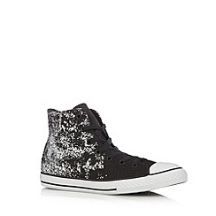 Converse - Girl's black woven metallic trim hi-top trainers