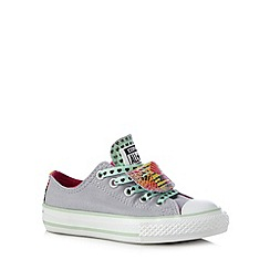 Converse - Girl's grey 'Chuck Taylor' patterned double tongue trainers