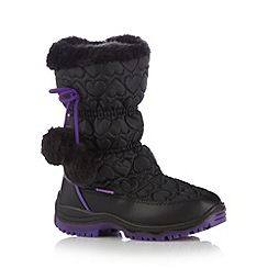 Pineapple - Girl's black quilted snow boots