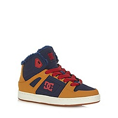 DC - Boy's orange leather patterned trainers