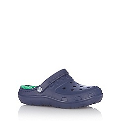 Crocs - Boy's navy faux fur lined crocs.