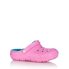 Crocs - Girl's pink faux fur lined crocs.