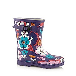 Animal - Purple floral buckle detail wellies