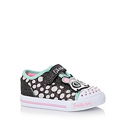 Skechers - Girl's black applique racoon light up trainers